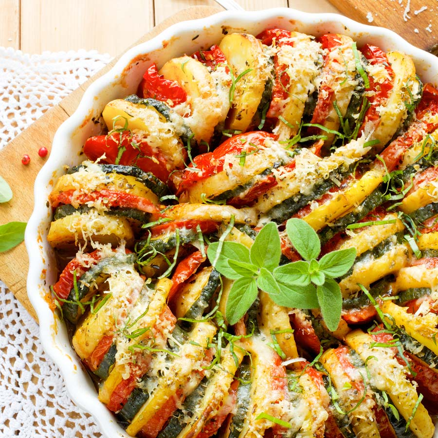 Kartoffel-Zucchini-Tomaten-Gratin
