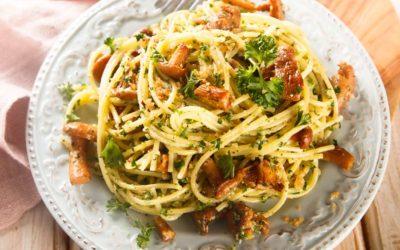 Pasta mit Pfifferlingen und Speck