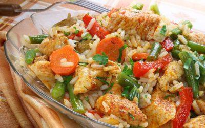 Reisfleisch mit Gartengemüse und Putenbrust
