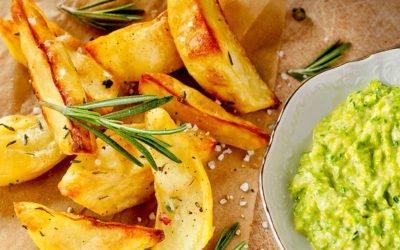 Kartoffelecken mit Bärlauchquark