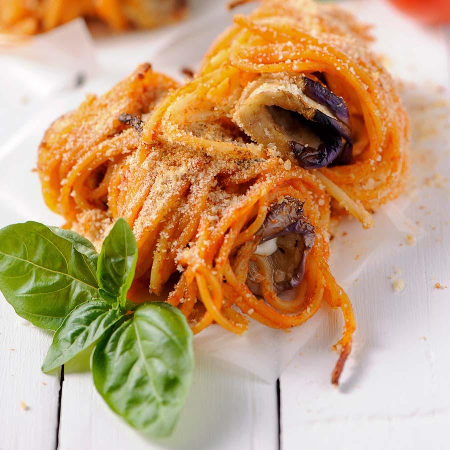 Spaghetti-mit-Auberginensugo